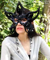 Circus Star leather mask in black by Alyssa-Ravenwood
