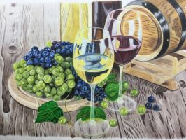 Wine and Grapes by Theladywolfheart