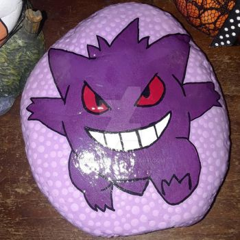 Gengar painted rock by Batnamz