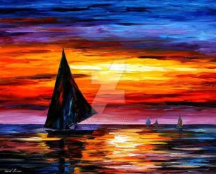 Away From The Sunset by Leonid Afremov by Leonidafremov