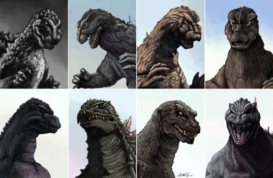 The Evolution of Godzilla by monsterartist