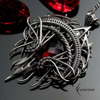 Necklace ETHXARR NHYR, Silver and Red Quartz by LUNARIEEN