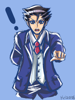 Phoenix Wright coloured sketch by krizeros