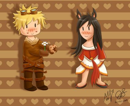 Valentines Day with Ezreal and Ahri by ryutoshiki