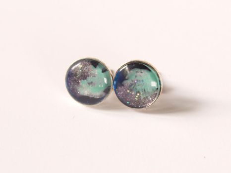 Silver stud earrings with hand painted galaxy by OkeMani