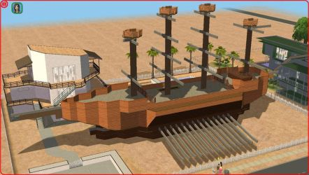 Sims 2 Pirate ship, with a modern guest house by RamboRocky
