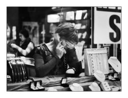 Lady on the phone by panfoto