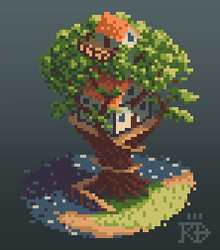 Isometric pixel art treehouse by the water by RGBfumes