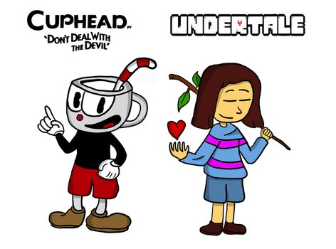 Frisk and Cuphead (Crossover) by RebelliouSergey