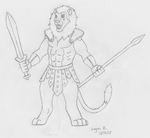 Greek Lion Warrior OC Sketch Commission by HewyToonmore