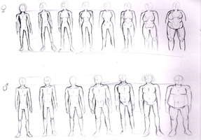 Practicing human anatomy: Body types by Baztey