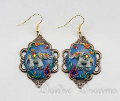 Indian Elephants Polymer Clay Ornate Earrings by DeidreDreams