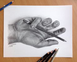 Pencil drawing of my hand by AtomiccircuS