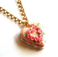 Rose Heart Cake Necklace by FatallyFeminine