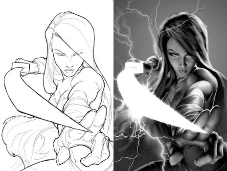 Psylocke Cover Process by AlexGarner