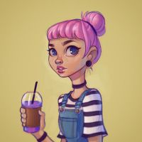 Girl with a Unicorn Frappuccino by ChrissieZullo