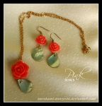 Pink Rose Necklace and Earring Set by Kurokami-Kanzashi