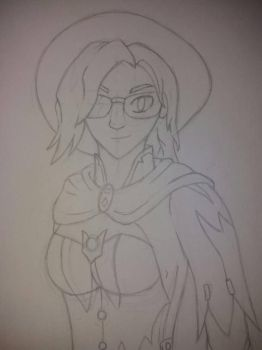 Drawing a friend as Mercy (Overwatch) by dragonpheonix1
