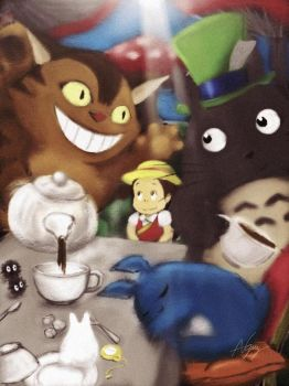 Totoro's Mad Hatter's Tea Party by Veebster