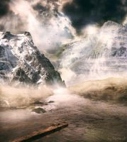 Mountains water and mist by lifeness23