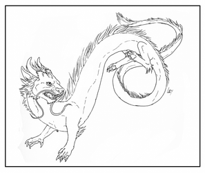 Free Line Art - Chinese Dragon by Mikaley