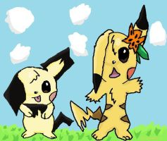 Pikachu And Pichu by QuilavaBurn