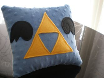 Winged Triforce Pillow by Omonomopoeia