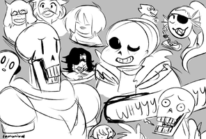 Undertale Doodles by tamisumimi