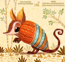 Daily Paint 1982# Aztec Armadillo by Cryptid-Creations