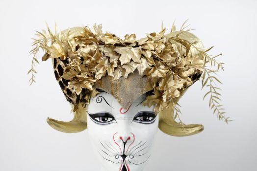 Gold Lotus Vegan Ram Headdress by ctrlaltvamp