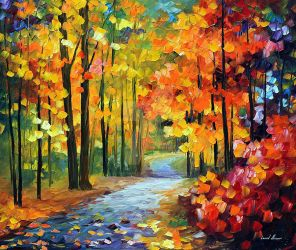 Red Fall 1 by Leonid Afremov by Leonidafremov