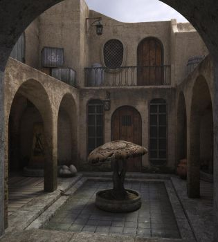 Balmora patio by Minomi9