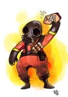 TF2: Flaming Pyro by jiggly