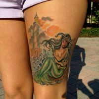 Mermaid and Lighthouse Tattoo by Mike ashworth by Mikeashworthtattoos