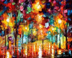 Fall Alley 1 by Leonid Afremov by Leonidafremov
