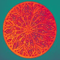 Colorful mandala painting with orange petals by oanaunciuleanu