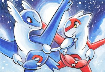 Art Cards - Latios and Latias by Tigsie