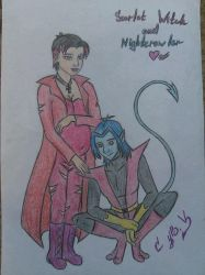 Nightcrawler and Scarlet Witch by VolodyaNocturne