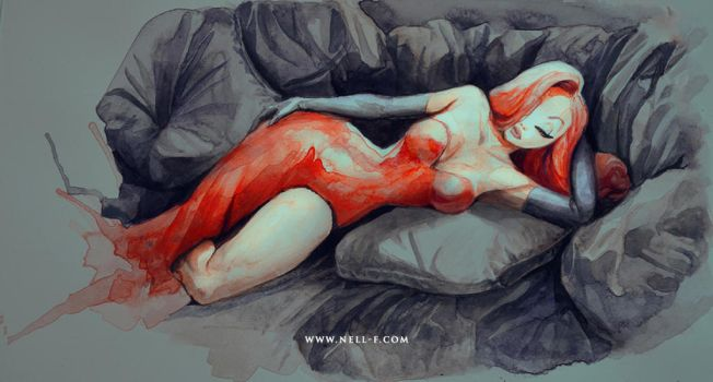 Jessica Rabbit - Watercolor by nell-fallcard