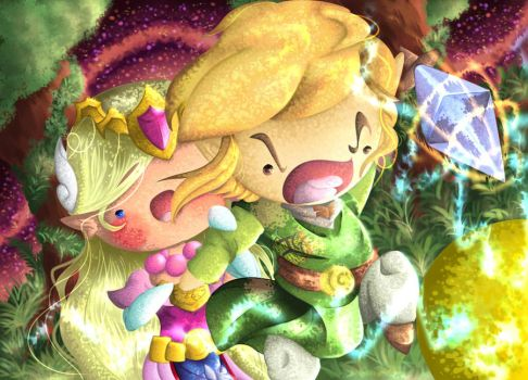 Link and Zelda VS Yellow ChuChu -Legend of Zelda by TheTigerMaster