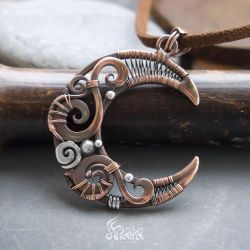 Copper and silver moon pendant by Artarina