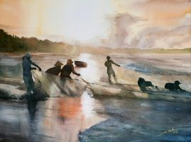 Vietnamese Fishermen, 56x76cm by NiceMinD