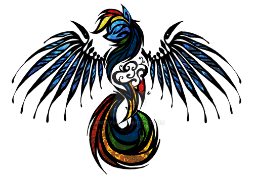 Rainbow Dash stained glass tribal tat by Skrayle
