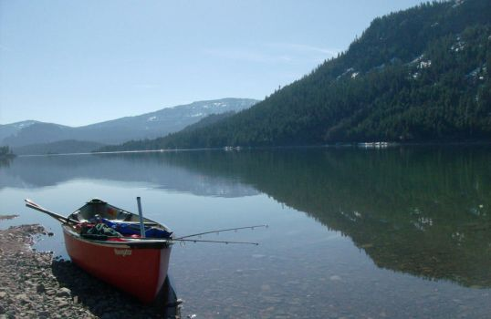 Rimrock Lake with Canoe in Washington State by petralovescoffee