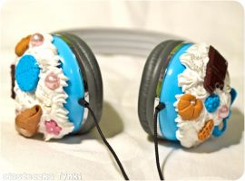 Blue cute headphones by ciasteczkatynki