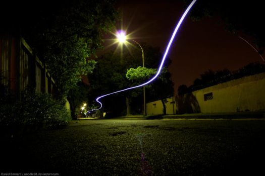 Long Exposure: Longboarding Light Trail by noodle98