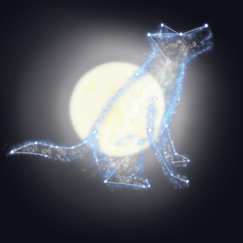 Wolf Star Constellation and Moon by sealweal11