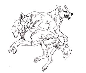 Wolf Couple- Free Lines by reviro