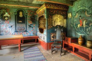 Traditional living room with bed by Enigmaticus