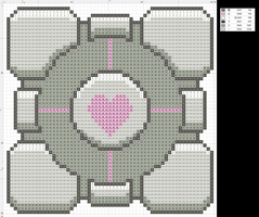 X-STITCH: Companion Cube by DaCyanWaffle123